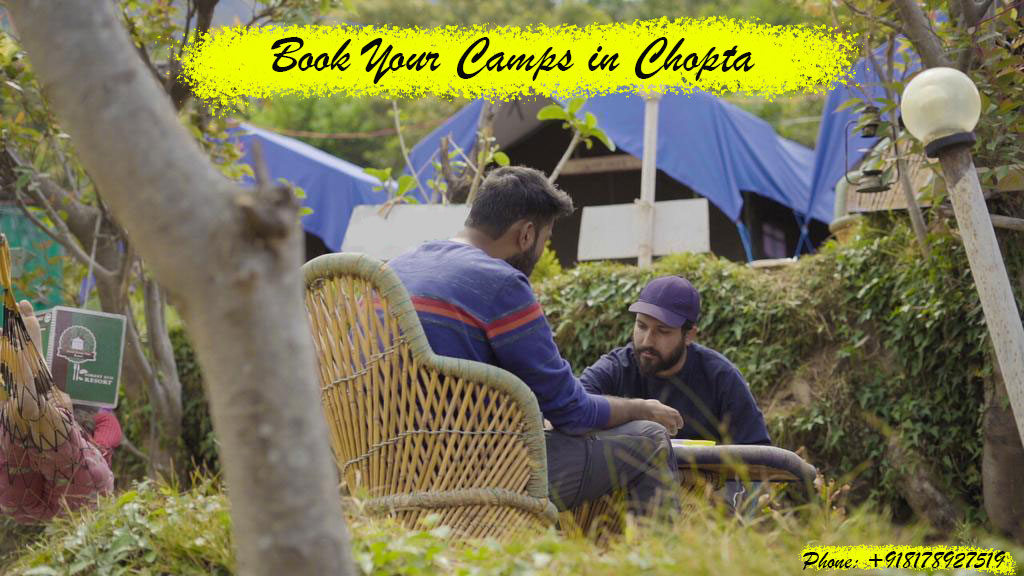 The image is about booking camping in Chopta Valley.