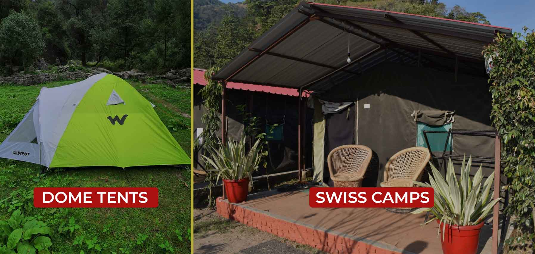 the left side of the photo shows a dome tent. The right side of the photo show a swiss camp with two bamboo chairs in front of it.